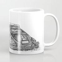 volkswagen Mugs featuring Volkswagen Beetle by Akkattoos