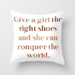 Rose gold shoe love Throw Pillow