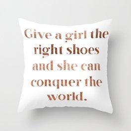 Rose gold shoe love Throw Pillow