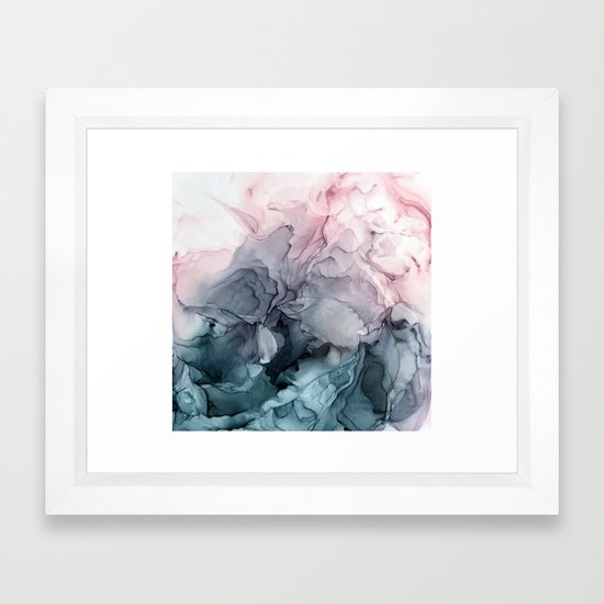 Blush and Payne's Grey Flowing Abstract Painting by elizabethschulz