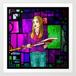 Stained Glass Buffy Art Print