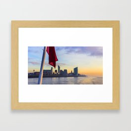 Liverpool Port from Mersey Ferry  Sunset Panorama United Kingdom Framed Art Print