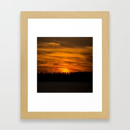 Cloudy Sunset With Forest Line - Scenic Landscape - #society6 #decor #buyart Framed Art Print