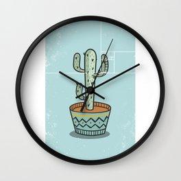 Geometric Art • Cartoon Saguaro Cactus Wall Clock