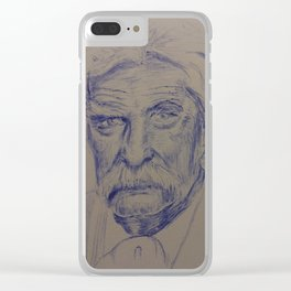 Portrait of Mark Twain in Blue Ink Clear iPhone Case
