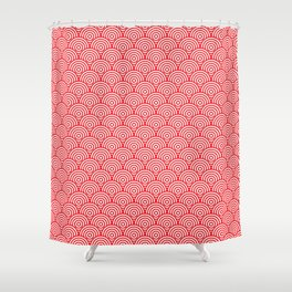Red Concentric Circle Pattern Shower Curtain