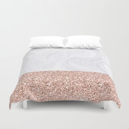White Marble Dipped in Rose Gold Glitter Duvet Cover