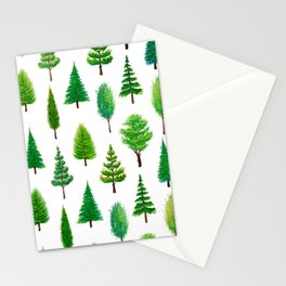 Branching Out - Evergreen Tree Forest on White Stationery Cards
