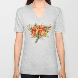 Californian Poppies, California Floral art soft colors Unisex V-Neck