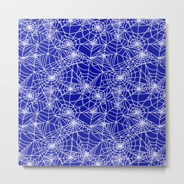 Royal Blue Cobwebs Metal Print