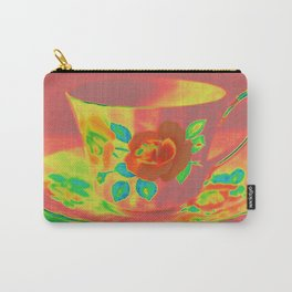 Teacup | Still Life | Vintage Coral Rose Teacup | Nadia Bonello Carry-All Pouch