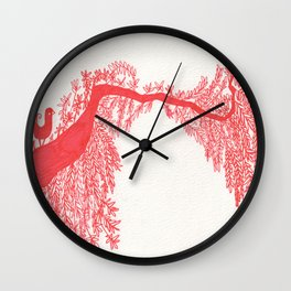 The Songbird and the tree (Red Version) Wall Clock