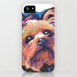 Yorkie Yorkshire Terrier Dog Portrait Pop Art painting by Lea iPhone Case
