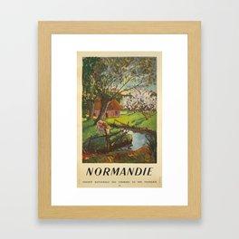 ancienne affiche normandie societe nationale des chemins de fer francais campagne Framed Art Print