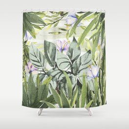 Tropical  lavender forest green watercolor floral Shower Curtain