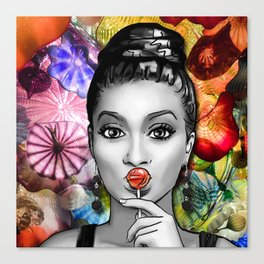 Retro Pinup Girl Lollipop & Blown Glass Canvas Print