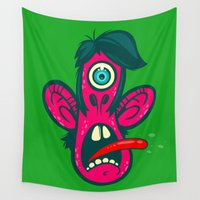cyclops Wall Tapestries featuring Frightened Cyclops by Artistic Dyslexia