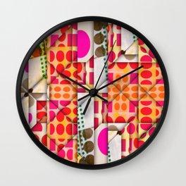 number 245  orange red pink pattern Wall Clock
