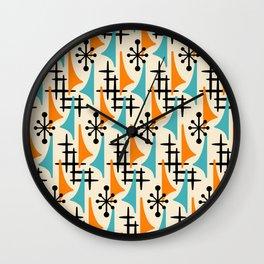 Mid Century Modern Atomic Wing Composition Orange & Blue Wall Clock