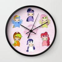 mlp Wall Clocks featuring A Boy - Little Pony by Christophe Chiozzi