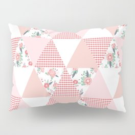 Quilt quilter cheater quilt pattern florals pink and white minimal modern nursery art Pillow Sham