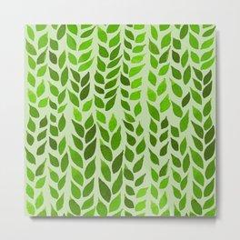 Simple Watercolor Leaves - Lime Green Background Metal Print
