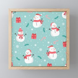 Snowmen and Candy Canes Framed Mini Art Print