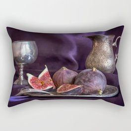 Still life with fresh figs and metal dishes Rectangular Pillow