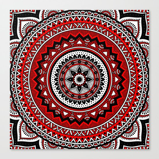 Red and Black Mandala Canvas Print