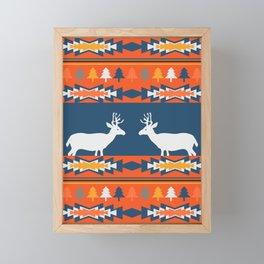 Deer winter pattern Framed Mini Art Print