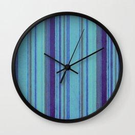 Retro Stripes Purple Avocado Blue Grunge Primitive Stripe Wall Clock
