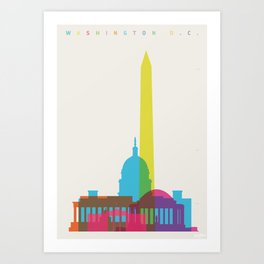 Shapes of Washington D.C. Accurate to scale Art Print