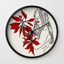 Girl with Red Flowers Wall Clock