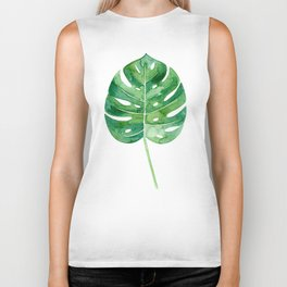 Philodendron Leaf Watercolor Biker Tank