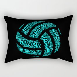 Turquoise Volleyball Wordcloud - Gift Rectangular Pillow