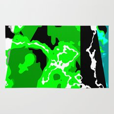 Green Turquoise black and white abstract Rug