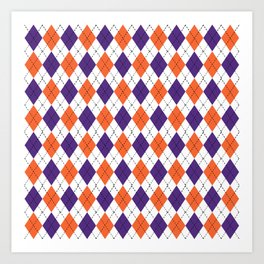 Argyle orange and purple pattern clemson football college university alumni varsity team fan Art Print