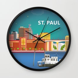 St. Paul, Minnesota - Skyline Illustration by Loose Petals Wall Clock