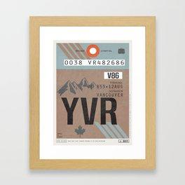 Vintage Vancouver Luggage Tag Poster Framed Art Print