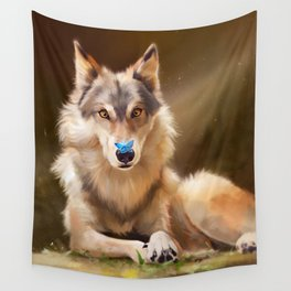 Wolf and butterfly Wall Tapestry
