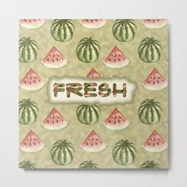 Fresh Vegan Abstract Watercolor Watermelon Metal Print