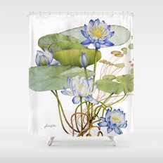 Blue Water Lily Botanical Shower Curtain
