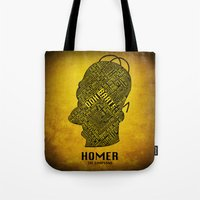 homer Tote Bags featuring Homer by Matthew Cridland
