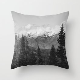 Snow Capped Sierras - Black and White Nature Photography Throw Pillow