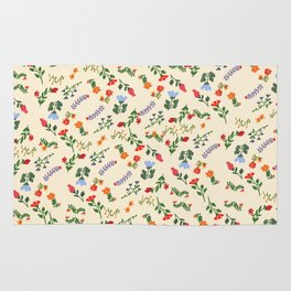 Bright Vintage Flower Pattern Rug