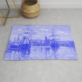 Ships Riding on the Seine at Rouen Japanese Porcelain Concept Rug