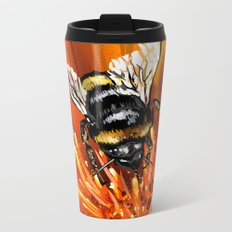 Bee on flower 1 Metal Travel Mug