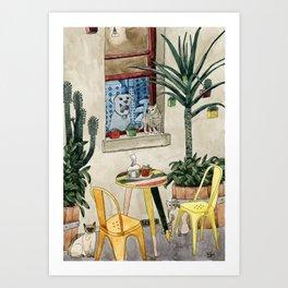 Cats Cacti and a Dog Art Print