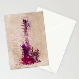 purple guitar Stationery Cards