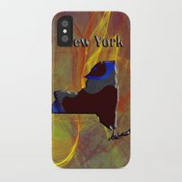 new york map iPhone & iPod Cases featuring New York Map by Roger Wedegis